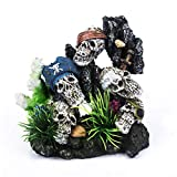 Pirate Skulls With Plants on Rock Artificial Polyresin Aquarium Ornament <span class='highlight'>Aquatic</span> Model Decoration <span class='highlight'>Fish</span> Tank Marine Decor Ornaments