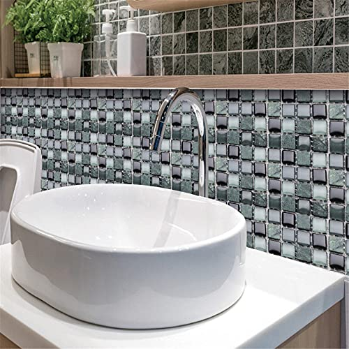 Adhesivo para azulejos 3D, vinilo de pared, DIY, impermeable, PVC, autoadhesivo, para cocina, baño, dormitorio, salón (A)