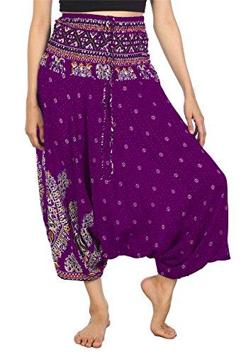 LOFBAZ Yoga Harem Pants for Women Boho Hippie Bohemian Clothing Womens Indian Beach Gypsy Clothes Maternity Genie Jumpsuit Floral Purple 2XL