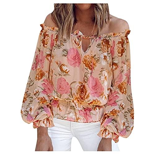 FOTBIMK Camiseta de mujer con estampado floral de gasa Tops de manga larga fuera del hombro floral Tops Blusas Camisetas