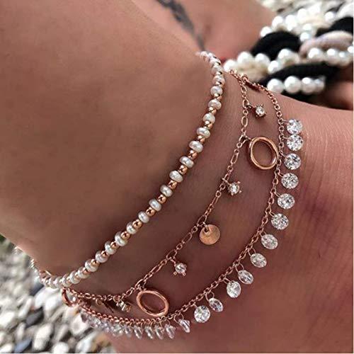 Nicute Boho gelaagde parel kralen enkel goud pailletten kristal hanger voet ketting voet sieraden voor vrouwen en meisjes