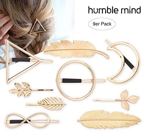 9er Set hochwertige minimalistische Haarspangen von Humble Mind, Haarschmuck - Kreis, Dreieck, Mond, Unendlichkeit, 3x kleine Spangen und 2x Feder in goldener Farbe (gold)