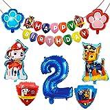 Paw Dog Patrol Balloons, Globos de Patrulla Canina, Globos De Dibujos Animados, Número 2 Azul, Juego de Decoración de Cumpleaños, Suministros para Fiestas Infantiles, 8 Piezas
