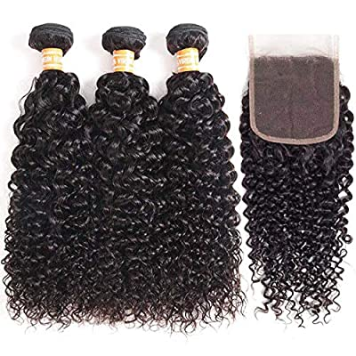 VTAOZI Brazilian 100% Unprocessed Virgin Human Hair Curly Bundles with Closure/Frontal&Curly Clip in Hair Extensions/Drawstring Ponytail Extension