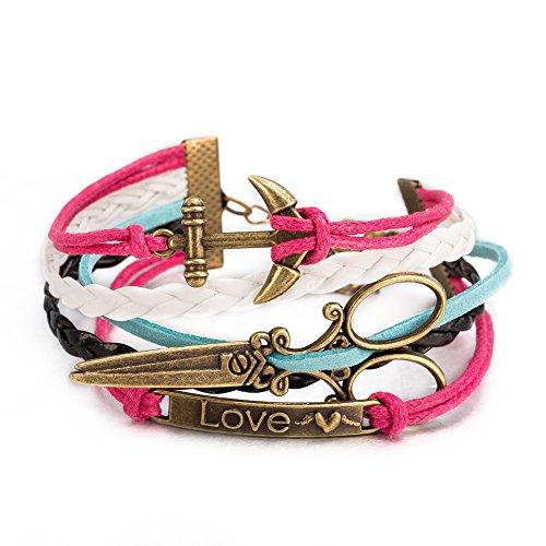 iLove EU Schmuck Freundschaft Armband Armreif Legierung Leder Seil Mehrfarbig große Schere Anker Love Herz Vintage Charm Damen