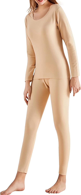 Hixiaohe Women's Stretchy Thermal Underwear Warm Soft Velvet Bas