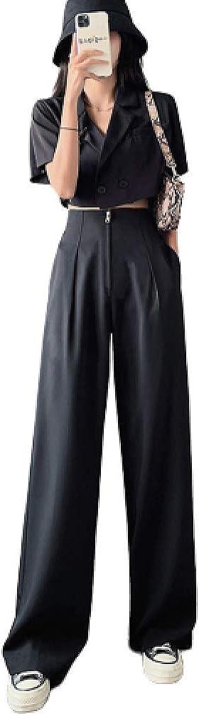 Surprise price GenericBrands Women's Jacksonville Mall Wide-Leg Suit Pants Thin Se Travel Summer