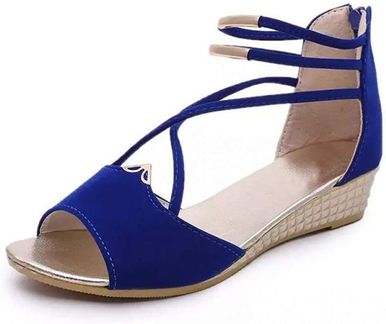 Hoxekle Peep Toe Sandals Women Summer Wedges Sandal Fashion Summer Ladies Wedge shoes Woman Sandal Black Red bluee