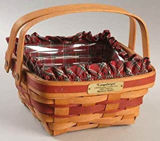 Longaberger 1993 Christmas Bayberry Basket with Plaid Liner & Plastic Protector