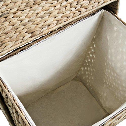 Festnight Wäschekorb Gewobene Gestaltung 44 x 34 x 64 cm Wasserhyazinthe Braun - 3