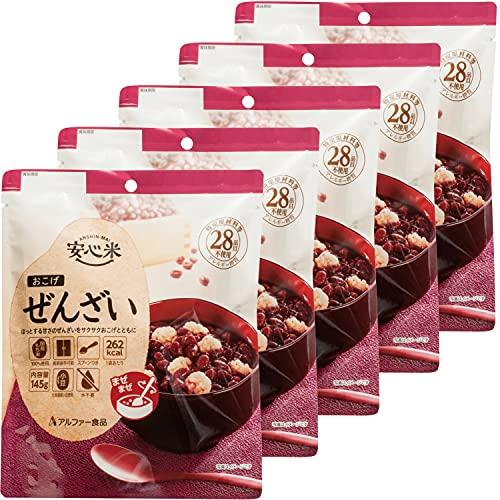 アルファー食品 安心米 おこげ(ぜんざい) 145g ×5個