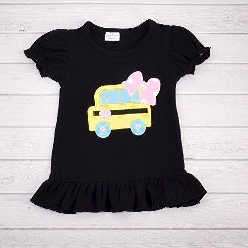 Unique Baby Girls Back to School Bus Shirt Boutique Outfit (4T/M, Black)