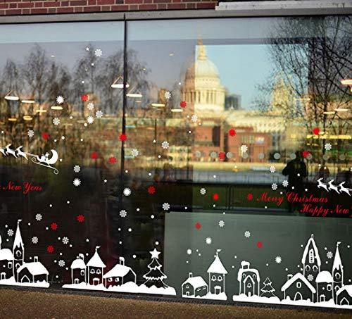 heekpek Adesivi Natalizi PVC Riutilizzabile Fiocco di Neve e Piccola Città Adesivi per finestre Decorazione Natalizia Decorazione per la casa Adesivi per specchi da Cucina per Frigorifero