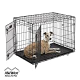 Dog Crate 1536DDU | MidWest ICrate 36 Inches Double Door Folding Metal Dog Crate w/ Divider Panel, Floor Protecting Feet & Leak Proof Dog Tray | Intermediate Dog Breed, Black
