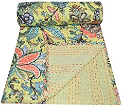 Yuvancrafts Indian Handmade Cotton Kantha Quilt Traditional Floral Print Twin Quilt Blanket Bedspreads Throw (Yellow)
