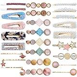 26Pcs Pinzas para el cabello de perlas - Colores de caramelo Perlas Pasadores para el cabello Dulces Artificiales Macaron Resinas acrílicas Pasadores Estrellas Colgantes Accesorios para el cabello