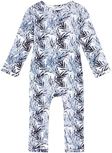 Posh Peanut Baby Rompers Pajamas - Newborn Sleepers Boy Clothes - Kids One Piece PJ - Soft Viscose from Bamboo (Jared Blue Leaf, 12-18 Months)