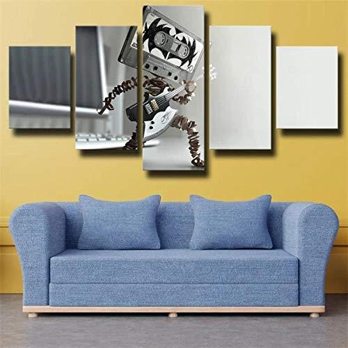 HFDSA Lienzo 5 Piezas Moderno Cuadro En Lienzo Music Cassette Man Gray 5 Piezas Salón De Hogardecoracion De Pared Arte Pared Foto Innovador Regalo (Enmarcado)