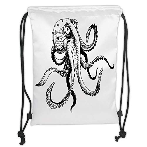 Fashion Printed Drawstring Backpacks Bags,Octopus Decor,Smiling Shy Octopus Posing Restaurant Comic Fun Doodle Art Illustration Print,Black White Soft Satin,5 Liter Capacity,Adjustable String Clos