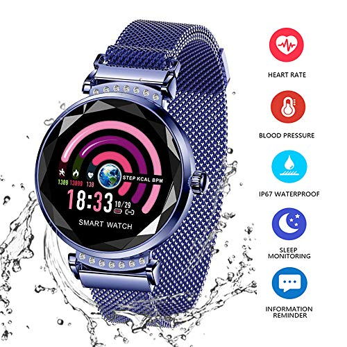 Wysgvazgv Fitness Tracker für Damen H2 Fitness Activity Tracker Pulsuhr Pulsmesser Wasserdicht IP67 Smartwatch Schrittzähler Kalorienzähler für Samsung Huawei iOS Android (blau)