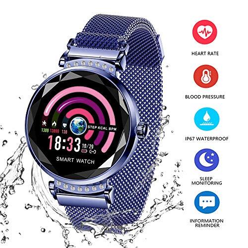 AGKupel H2 Smartwatch, fitnesstracker, armband met hartslagmeter, smartwatch, bloeddruk, hartslagmeter, slaapmonitor, stappenteller, waterdicht IP67, voor vrouwen en Android en iOS blauw