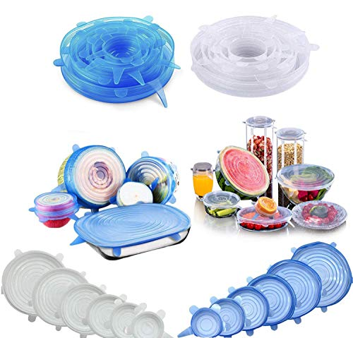 Stretch Lid, CLEYCYE Silicone Stretch Lids - 12pack Reusable Food...