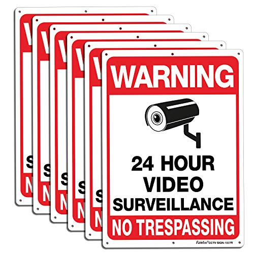 6 Pack Video Surveillance Signs Outdoor, No Trespassing Metal Signs, Reflective Warning Sign.040 Mil Rust Free Aluminum10x7 Inches, CCTV Security Camera for Home Business,UV Protected & Waterproof