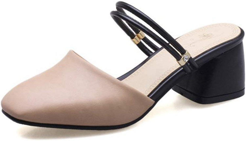 Fashion shoesbox Women's Fashion Pointed Toe Block Heel Sandals Slip-On Chunky Heel Slide Sandals Dress shoes