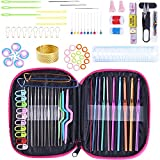 Ergonomic Crochet Hooks Boye Set with case for Beginners Hooks kit Aluminum for Arthritic Hands, Smooth Knitting Needles for Superior Results & Crochet Needles Handle Grip and Yarn Set (Color Mixing)