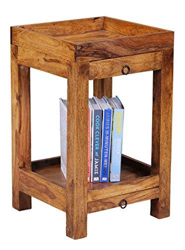 Wohnling Sheesham kast massief hout 2 laden en planken, hout, bruin, 65 x 39,5 x 39,5 cm