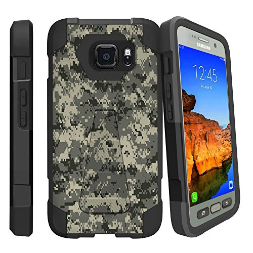 Rugged [Heavy Duty] Dual Layered [Shockproof] Case w/Kickstand Cover Compatible with Samsung Galaxy S7 Active G891 - Digital Army Camo