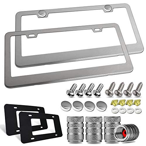 Aootf Stainless Steel License Plate Frames- Heavy Duty Polish Mirror Car Tag Cover with Chrome Screw Caps, 2 Hole 2 Pack Front & Rear Holders for Women/Men, Tire Valve Caps, Rattle Proof Pads