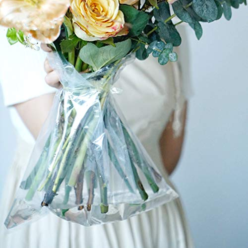 BBJ Clear Plastic Florist Supplies Water Retainer Bag for Flower Bouquet Wrapping, 12x14Inch, 100 Pcs