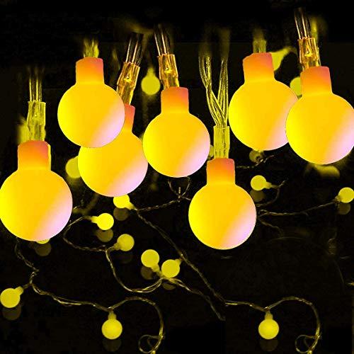 Lichterkette Außen, FOCHEA 12 m 100 LED Globe Lichterkette, LED Lichterkette Kugeln mit Fernbedienung, LED Lichterkette Partybeleuchtung für Aussen,Innen, Zimmer, Party, Deko (Warmweiß)