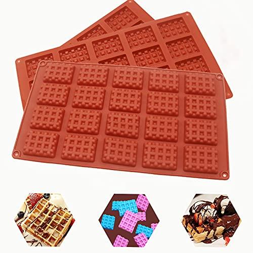 Molde Silicona 3pcs, moldes Gofres reposteria, Moldes Waffle ,20 cavidades antiadherentes de silicona bandeja para Chocolate,Galletas para Tarta Muffin Cocina Herramientas, para Horno,Refrigerador