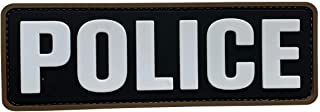 uuKen Big PVC Police Patch 6x2 inches Hook Fastener Back Black and White for Military Police Officer Tactical Vest Jacket Combat Plate Carrier Panel Law Enforcement