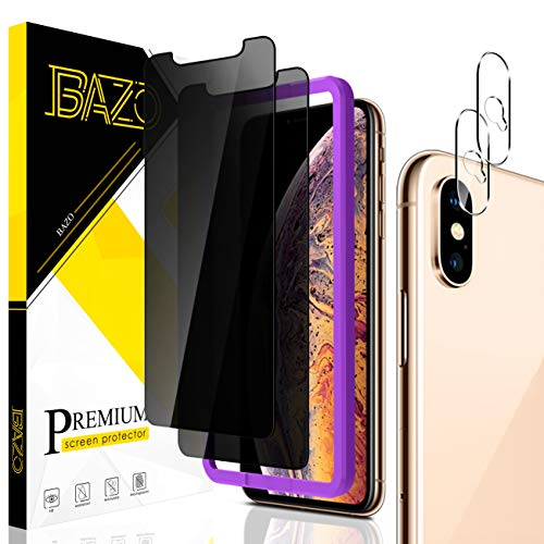 [2+2 Pack] BAZO Anti Spy Privacy Screen Protector and Camera Lens Protector for iPhone Xs Max, [Case Friendly] [Easy Installation Frame] Anti Glare 9H Hardness HD Clear Tempered Glass Film