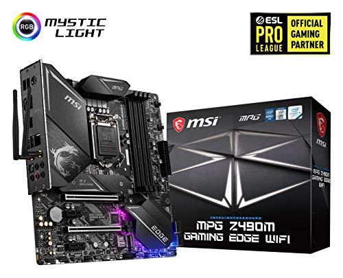 MSI MPG Z490M GAMING EDGE WIFI mATX Gaming-Mainboard (10. Generation Intel Core, LGA 1200-Sockel, DDR4, SLI/CF, zwei M.2-Steckplätze, USB 3.2 Gen 2, Wi-Fi 6, micro-ATX, DP/HDMI, Mystic Light RGB)
