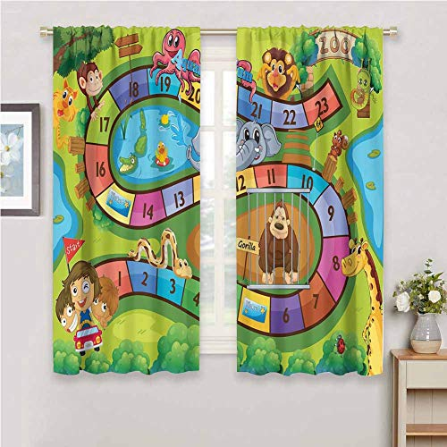 Sliding Curtains for Patio Decor Kids Activity A Day in a Zoo Themed Cartoon Style Children and Exotic Animals Gorilla Lion Print Bedroom Decor Blackout Shades W72 x L72 Inch Multicolor