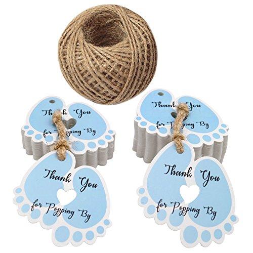 Targhette da favore Baby Shower, Targhette da regalo da 100 PCS, Tag 'Thank you for Popping by', belle etichette da 5,5 * 6 cm con 30 metri di cordoncino di juta (blu)