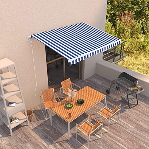 Tidyard Toldo Manual Retráctil Sombrilla Cubierta Aluminio Ángulo Ajustable Azul y Blanco 300x250 cm