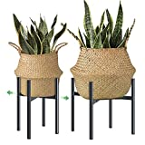 H HOMEXIN Plant Stand Metal- Adjustable Mid Century Plant Holders for 21-30cm Plant Pot(not Included), Black Indoor Plant Rack Easy Assemble, Stable & Stylish Display for <span class='highlight'>Copper</span>,Ceramic Pot