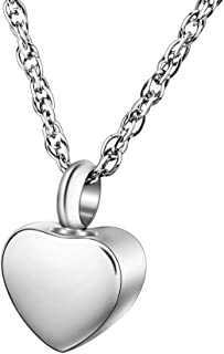 Dletay Cremation Jewelry for Ashes Memorial Heart Urn Necklace Ashes Holder Stainless Steel Keepsake for Human Pets