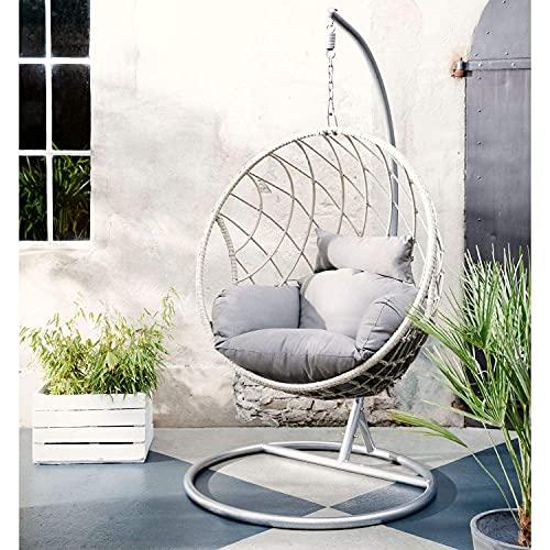 Dawsons Living Milan Hanging Egg Chair - Outdoor and Indoor Rattan Weave Swing Hammock - Hanging...