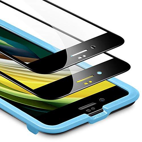 ESR Pellicola Compatibile con iPhone SE 2020,8,7, 2 Pezzi, Pellicola Vetro Temperato 3D Massima Protezione a Copertura Totale, Protezione per Lo Schermo Compatibile con iPhone SE,8,7, Nero