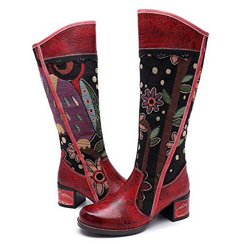CrazycatZ Damen Stiefel Hoch Leder Stiefel mit Absatz Bunt Druck Chic Stiefel Bequeme Outdoor Knee Stiefel Flache Reißverschluss Langschaft Patchworkstiefel (39 EU, ROT B)