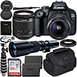 Canon EOS 4000D DSLR Camera with EF-S 18-55mm f/3.5-5.6 III Lens & 500mm Preset Lens Beginner's Bundle - Includes: SanDisk Ultra 128GB SDXC Memory Card, Extended Life LPE10 Replacement Battery & More