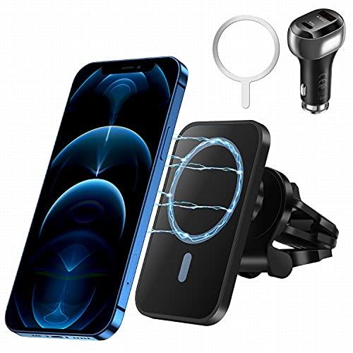 Handy-Autohalterung mit Ladefunktion für Mag-Safe / iPhone12-Serie/Samsung etc (mit Metallplatte),Kabellose Kfz-Handyladegeräte, QC3.0 Adapter 15W Qi Auto Schnellladehalterung, Lüftungshalterung