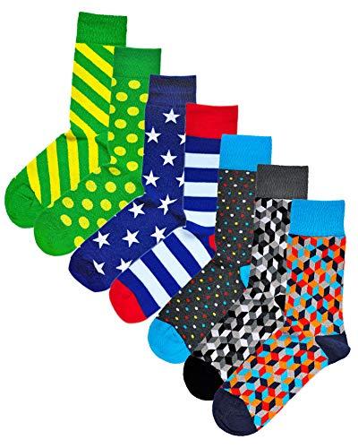 VITSOCKS Heren Geometrische Fun Gekke Leuke Patronen Sokken Kwaliteit Katoen