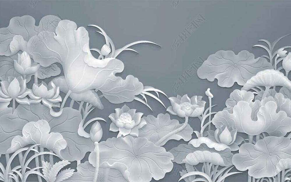 Wall Max 79% OFF Super beauty product restock quality top Murals Wallpaper Abstract Mural Leaf Lotus Wallc